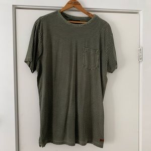 Billabong Men's Army Green Striped Tee